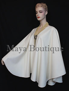 Maya Matazaro Ivory Cashmere Cape Ruana Wrap Coat Made in USA
