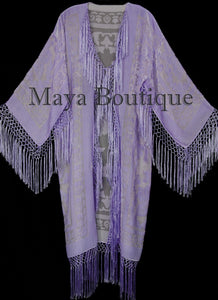 Dusty Lilac Silk Burnout Velvet Fringes Jacket Kimono Long Coat Maya Matazaro