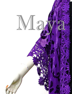 Purple Lace & Burnout Velvet Kimono Caftan Jacket Duster Maya Matazaro Plus