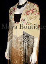"Flamenco Embroidered Silk Piano Shawl Wrap Wheat Floral 84"" Maya Matazaro"