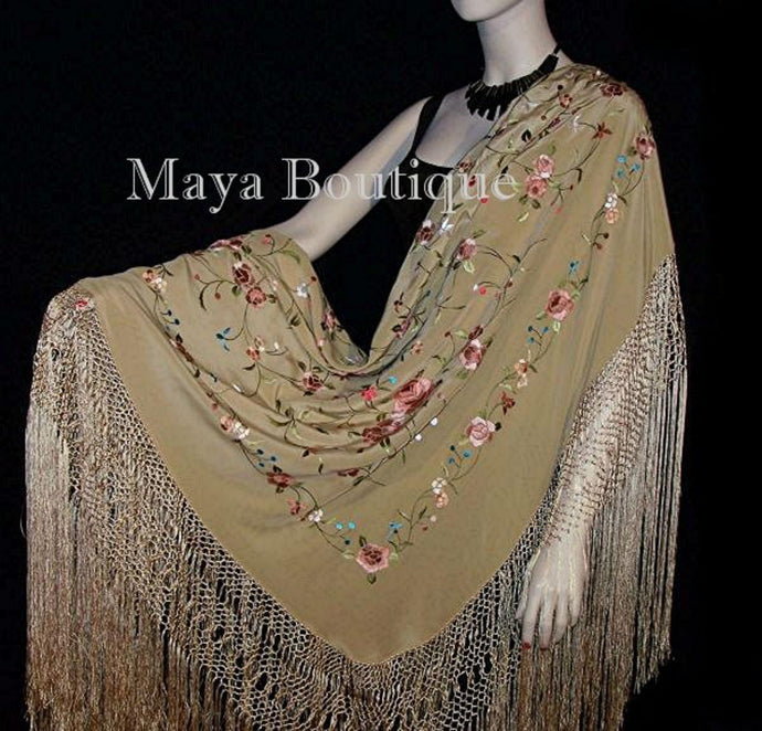 Flamenco Embroidered Silk Piano Shawl Wrap Wheat Floral 84