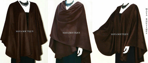 Chocolate Cashmere Wool Cape Ruana Wrap Coat Maya Matazaro Made in USA New