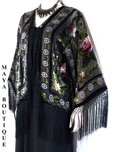 Fringe Jacket Bolero Silk Burnout Velvet Black Multi