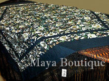 "Hand Embroidered Flamenco Silk Piano Shawl Floral Birds Butterfly Huge 90"" Maya"