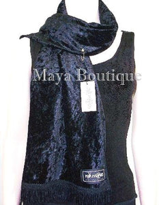 Black Crush Velvet Scarf With Fringes Maya Matazaro MADE IN USA
