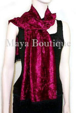 Burgundy Crush Velvet Scarf With Fringes Maya Matazaro MADE IN USA