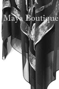Maya Matazaro Layered Poncho Top Silk Burnout Velvet & Chiffon Silver Black USA