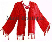 Red Silk Flapper Style Jacket Short Kimono Beaded Burnout Velvet Maya Matazaro