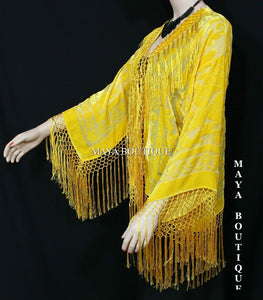 Maya Matazaro Canary Yellow Fringe Jacket Kimono Silk Burnout Velvet USA Made
