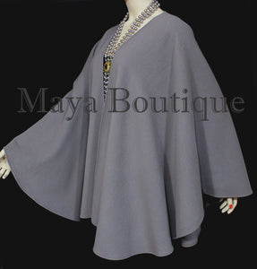 Gray Cape Ruana Wrap Coat Wool Cashmere Blend by Maya Cape Ruana USA Made