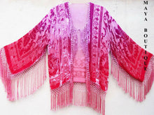 Wearable Art Burnout Velvet Fringe Jacket Hand Dyed Coral & Orchid Maya Matazaro