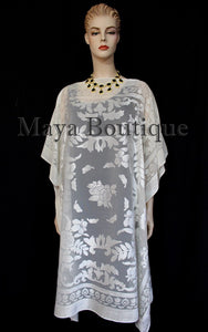 Burnout Velvet Caftan Dress Duster Kimono Ivory No Fringes Maya Matazaro USA
