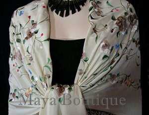 Maya Matazaro Flamenco Embroidered Silk Piano Shawl Wrap Fringed Scarf Beige 84""