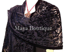 Black Shawl Wrap Scarf Silk Burnout Velvet Beaded Oblong Maya Matazaro