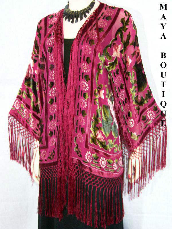 Fringe Jacket Bolero Silk Burnout Velvet Wine Multi Short