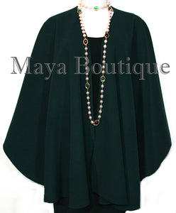 Forest Green Cape Ruana Wrap Coat Cashmere Wool Blend Maya Matazaro USA Made