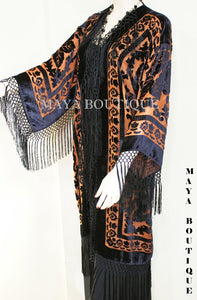 Orange & Black Silk Burnout Velvet Fringes Jacket Kimono Coat Long Maya Matazaro