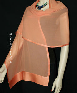 Coral Scarf Wrap Shawl Silk Chiffon Satin Border Maya Matazaro New