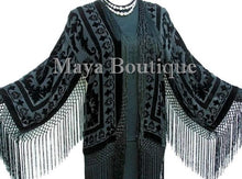 Flapper Fringe Jacket Kimono Black Rayon Blend Burnout Velvet Short Maya Jacket