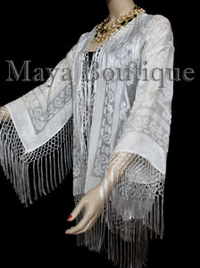 Maya Matazaro Ivory Fringes Jacket Kimono Short Coat Silk Burnout Velvet