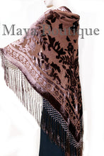 Maya Matazaro Piano Shawl Scarf Fringe Wrap Silk Burnout Velvet Chocolate Brown