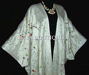 White Embroidered Silk Kimono Caftan Duster Coat Plus Size Maya Matazaro