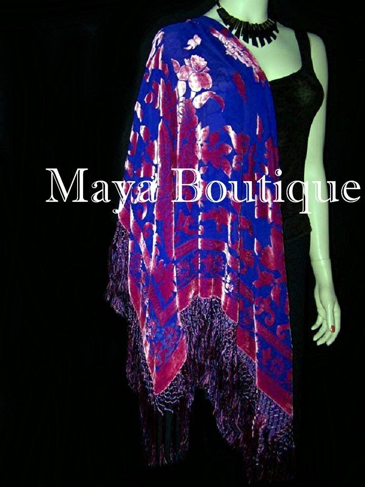 Piano Shawl Wrap Scarf Silk Burnout Velvet Pink on Blue Maya Boutique