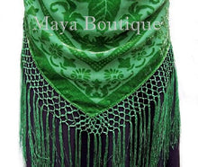 Silk Burnout Velvet Piano Shawl Wrap Hand Dyed Apple Green Maya Boutique