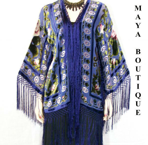 Fringe Jacket Bolero Silk Burnout Velvet Blue Multi