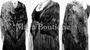 Blacck Silk Burnout Velvet Piano Shawl Wrap Fringed Scarf Maya Matazaro