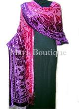 Maya Matazaro Wearable Art Silk Wrap Shawl Scarf Hand Dyed Magenta Purple Velvet