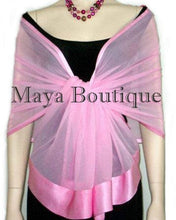 Baby Pink Chiffon Silk Scarf Wrap Sash Satin Border Maya Clothing & Gift Box NWT