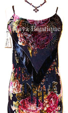 Dress Gown Black Silk Burnout Velvet Beaded Victorian Roses Maya Matazaro L