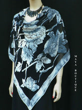 Piano Shawl Wrap Scarf Silk Burnout Velvet Silver & Black No Fringe Maya