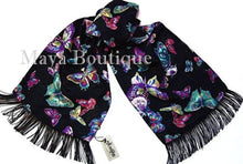Butterfly Scarf Wrap Maya Matazaro Georgette With Fringes Made In USA MAYA