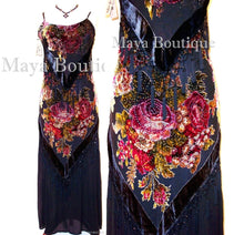 Dress Gown Black Silk Burnout Velvet Beaded Victorian Roses Maya Matazaro M
