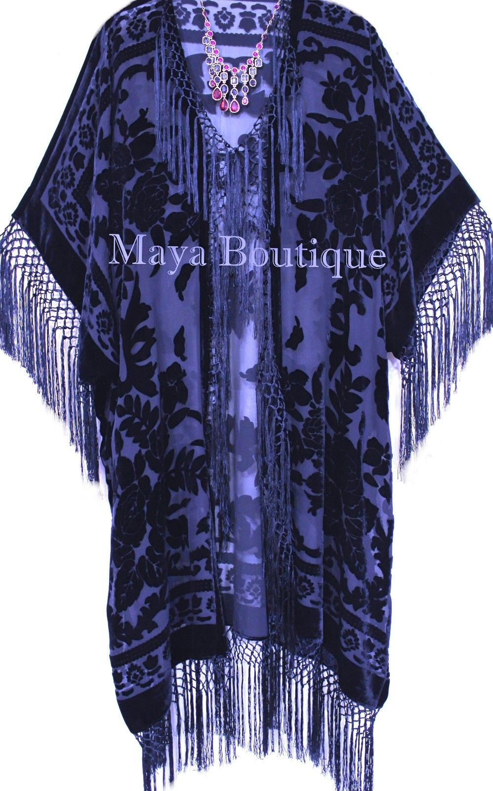 Navy Blue Silk Burnout Velvet Fringe Jacket Kimono Duster Maya Matazaro Plus