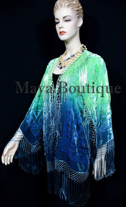 Burnout Velvet Silk Fringe Jacket Kimono Hand dyed Green Teal Maya Wearable Art