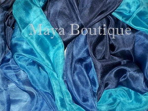 Huge Silk Wrap Shawl Scarf Hand Dyed BlueTurquoise Ombre Maya Boutique