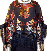 Maya Matazaro Silk Poncho Shawl Top Bohemian Burnout Velvet Made in USA