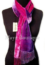 Silk Velvet Shawl Scarf Wrap Hand Dyed & Signed by Maya Matazaro Purple Magenta