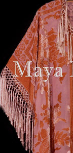 Papaya Orange Fringe Jacket Kimono Duster Silk Burnout Velvet Maya Matazaro Plus
