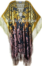 Gold & Brown Wearable Art Kimono Caftan Fringe Jacket Burnout Velvet Hand Dyed