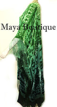 Green Wearable Art Kimono Caftan Fringe Jacket Burnout Velvet Hand Dyed Maya