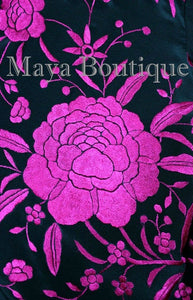 Maya Matazaro Embroidered Silk Fringe Jacket Kimono Black & Fuchsia Short
