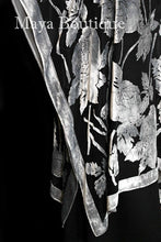 Caftan Dress Kimono Silk Burnout Velvet Silver Black Maya Matazaro