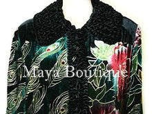 Opera Coat Duster Silk Velvet Black Multi Long M/L Maya Matazaro Art To Wear