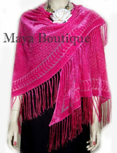 Pink Triangle Shawl Wrap Scarf Burnout Velvet With Fringe Maya Matazaro