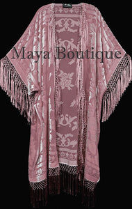 Rose Quarz Fringe Jacket Kimono Duster Silk Burnout Velvet Maya Matazaro Plus