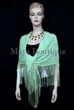 Piano Shawl Wrap Scarf Silk Burnout Velvet Mint Color Hand Dyed Maya Matazaro